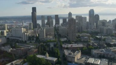 Aerial Cityscape view Downtown Seattle Finance Center, USA — Stockvideo