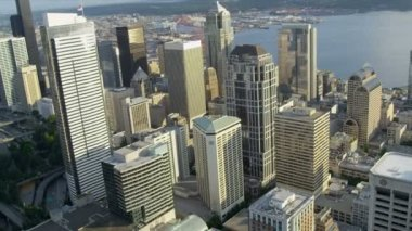 Aerial city view downtown Business district Seattle, USA — Vidéo