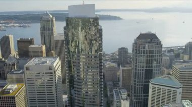 Aerial view city Skyscrapers downtown financial district Seattle — Стоковое видео