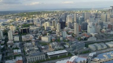 Aerial coastal view Downtown Seattle Business Center — Stock Video