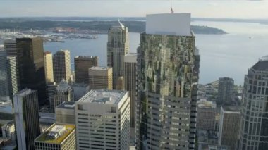 Aerial view city Skyscrapers downtown Business district Seattle — ストックビデオ