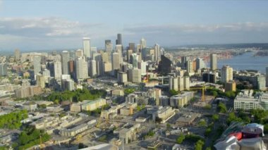 Aerial city view Downtown Seattle Space Needle — Stock Video