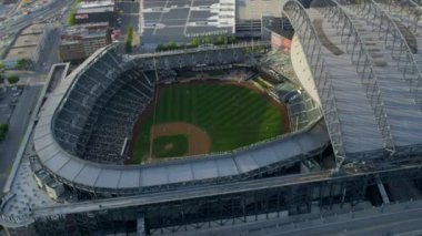 Aerial view Safeco Field, CenturyLink Baseball Stadium Seattle, USA — Stock Video