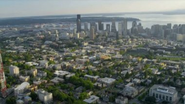 Aerial Cityscape view across Puget Sound, Seattle, USA — Stock Video