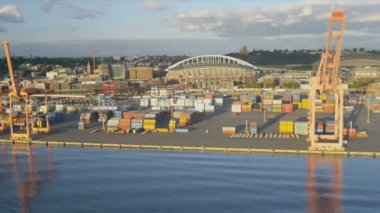 Aerial view of Container freight docks nr Safeco Field, Seattle — Stock Video