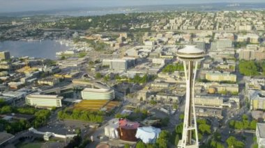 Aerial view Space Needle Seattle residential suburbs — Stock Video