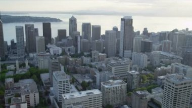 Aerial Skyscraper view of modern city Highways Seattle Business Center — Stock Video