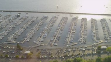 Aerial view of Boat Marina, Salmon Bay, Seattle, USA — Stock Video
