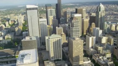 Aerial view city Skyscrapers downtown financial district Seattle — Stok video