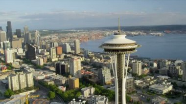 Aerial close up view Space Needle downtown Seattle Skyscrapers — 图库视频影像