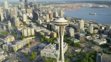 Aerial coastal view Space Needle, downtown Seattle, USA — Stock Video