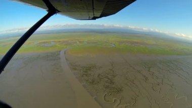 Aerial view of melt water swampland remote Alaskan Wilderness, Alaska, USA — Stock Video