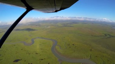 Aerial view of winding rivers  swampland Alaskan Wilderness light aircraft, Alaska, USA — Stockvideo