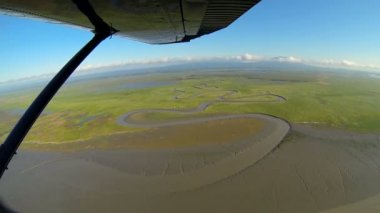 Aerial view of melt water swampland remote Alaskan Wilderness, Alaska, USA — Stock Video