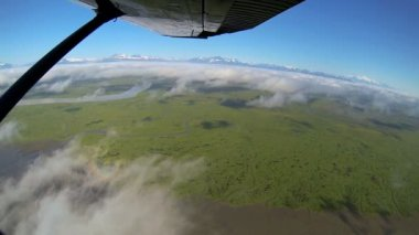 Aerial view from light aircraft swamp and marshland  Wilderness tundra Alaska, USA — Stock Video