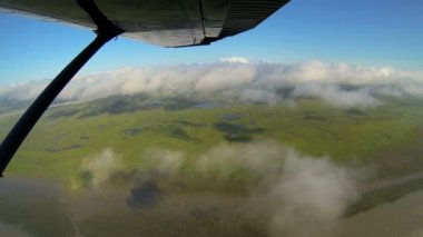 Aerial view of river melt waters swampland Wilderness landscape from light aircraft, Alaska, USA — 图库视频影像