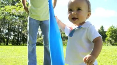 Smiling male Caucasian toddler child having fun — Stock Video