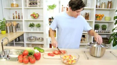 Healthy Caucasian Male Slicing Fresh Vegetables — Stock Video
