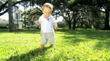 Happy Little Boy Practicing Walking on Park Grass — Stock Video
