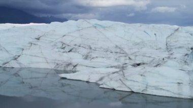 Aerial view of Ice Glacier, Arctic Region — Stock Video