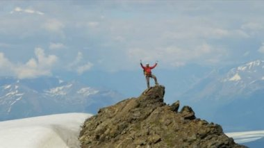 Successful Peak climber, Alaska — Stock Video