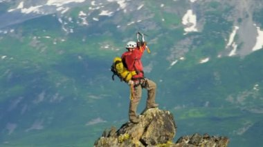 Successful Peak climber, Alaska — Stockvideo
