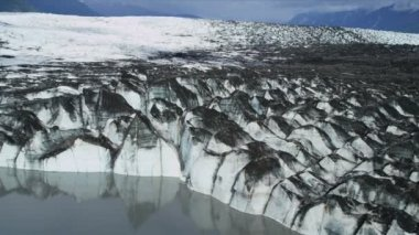Aerial view Knik Glacier,  Alaska, USA — Stock Video