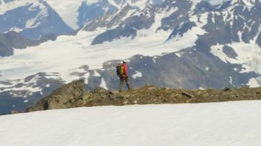 Climber walking at Chugach Mountains — Stock Video