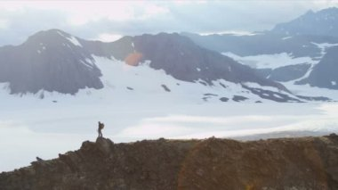 Climber walking at Chugach Range — Stock Video