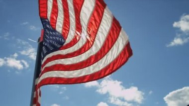 National Flag of America flying high — Stock Video