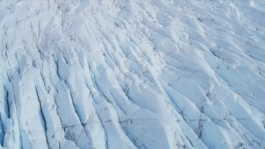 Aerial view ice glacier constantly moving under its own gravity, Arctic Region — Стоковое видео