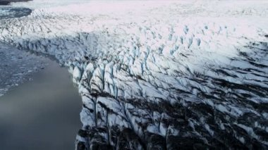 Aerial view of moraine covered Ice Glacier, Arctic Region — Stock Video