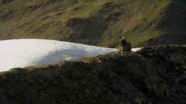 Climber achieving success high in Chugach Mountains — Stock Video