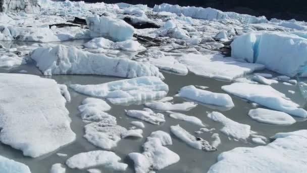 Vista aerea glaciar Knik icebergs río Knik Alaska, Usa — Vídeo de stock