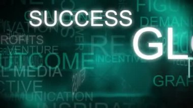CG montage of green rotating graphic text background with business success theme — Stock Video