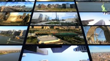 CG video wall of  New York, panoramas, Statue Liberty — Vidéo