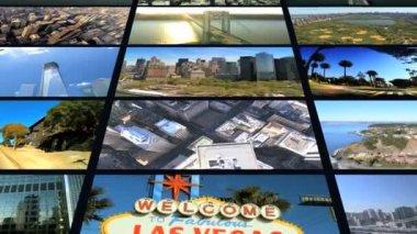 3d видеостена сша назначения нью-йорк манхэттен сан - франциско лос-анджелес — Стоковое видео
