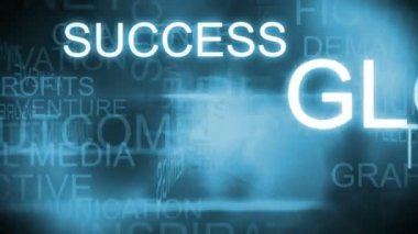 3D montage of business profits text words rotating blue background — 图库视频影像