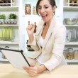 Caucasian Businesswoman Working at Home on Tablet — Stock Video