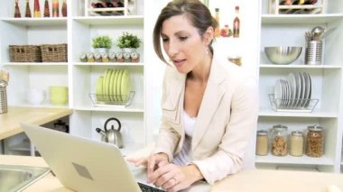 Ambitious Businesswoman Working at  Home on the Laptop — Stock Video