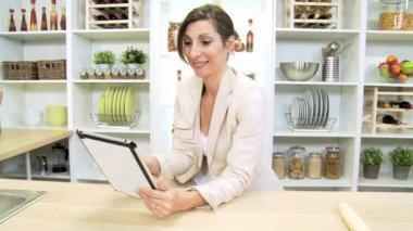 Female Freelance Business Advisor at Home Working on Tablet — Stock Video