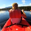 Female kayaking enjoying — Stock Video #50147099