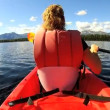 Female kayaking enjoying — Vídeo de stock #50147689