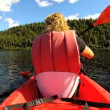 Female kayaking enjoying — Vídeo stock #50149501