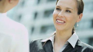 Businesswomen meeting — Stock Video