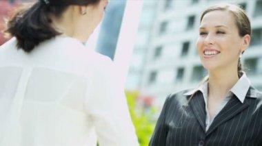 встреча деловых женщин — Стоковое видео