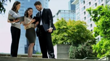 Business people working with tablet — Stock Video