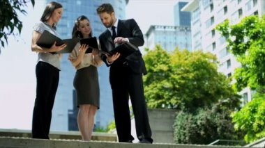 Successful multi ethnic executives with tablets — Stock Video