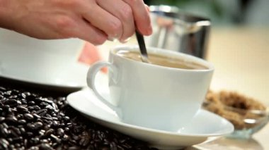 Cups Fresh Coffee Beside Beans White Table — Stock Video