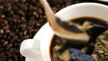 Close Up Female Hand Stirring Cup Black Coffee — Vidéo